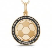 Through Christ Who Strengthens Me  Soccer Charm or Pendant