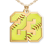 Color Enameled Softball Number Charm or  Pendant with 2 Digits