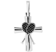 Sterling Silver High Polished Tennis Cross w  Antique Finish