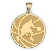 Basketball w  Player Dribbling Silhouette Medal