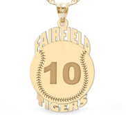 Custom Team Baseball Charm with Number