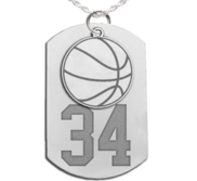 Basketball Dog Tag with Number and Swivel Pendant