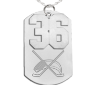 Hockey Dog Tag with Number Pendant Swivel