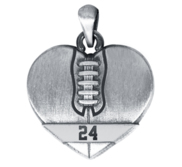 Sterling Silver Heart Shaped Football Pendant w  Number   Chain