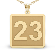 Square Shaped Number Pendant