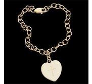 14K Yellow Gold Baby Bracelet W Heart And Cross