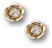 14K Yellow Gold Children s  Floral  Stud Earrings with Cubic Zirconia