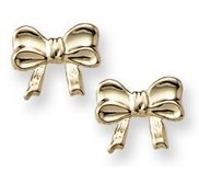 14K Yellow Gold Children s  Bow  Safety Back Earrings