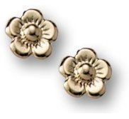 14K Yellow Gold Children s   Flower   Post Earrings