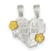 Sterling Silver Two Piece Big Sis   Lil Sis Pendant