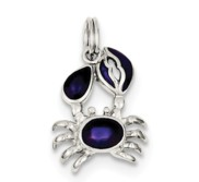 Sterling Silver Purple Enameled Crab Charm