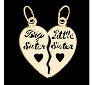 14K Yellow Gold Teen Big Sister  Little Sister  Pendant