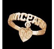 14K Yellow Gold Teen Quinceanera Ring