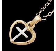 14K Yellow Gold Teen Heart W Cross Pendant W Chain