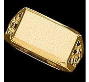 14K Gold Gents Signet Mounting Ring W Brush Finished Top