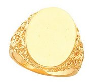 14K Gold Men s Oval Signet Ring