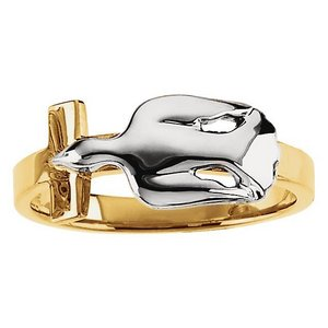 Solid 14k Gold Two Tone Holy Spirit Ring