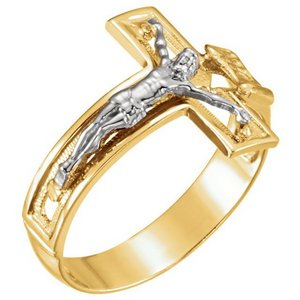 14K Two tone Cross Ring