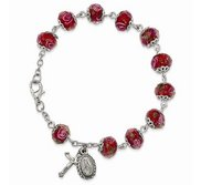 Silver tone Handpainted Red Beads Rosary Bracelet