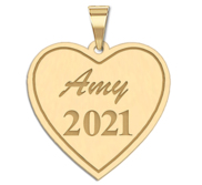 2018 Personalized Heart Graduation Charm