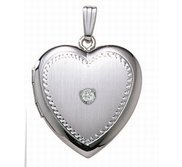 Sterling Silver Cremation   Hair Locket w  Diamond Center
