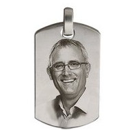 Sterling Silver Dog Tag   Photo  Cremation Pendant