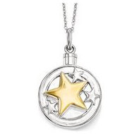 Sterling Silver   Gold plated Your Brightest Star Cremation Ash Holder w  18 Inch Chain