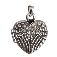 Sterling Silver  Angel Wing  Antiqued Cremation Picture Locket