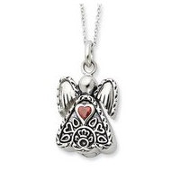 Sterling Silver Antiqued Birthstone Angel Cremation Ash Holder w  18 Inch Chain