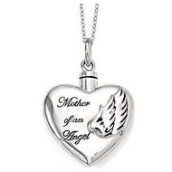 Sterling Silver Enameled Mother of an Angel Heart Cremation Ash Holder w  18 Inch Chain