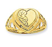 14k Heart 1 2 Cartouche Embossed Locket Ring