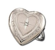 14k White Gold Heart Locket Ring with Diamond