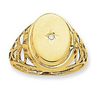 14k Yellow Gold Plain Diamond set Locket Ring