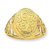 14k Yellow Gold Oval Half Cartouche Locket Ring