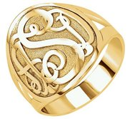 Personalized Script Round Monogram Signet Ring