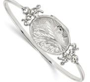 Sterling Silver Oval Script Love Design Locket Bangle Bracelet