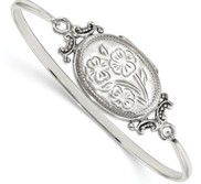 Sterling Silver Oval Floral Design Locket Bangle Bracelet