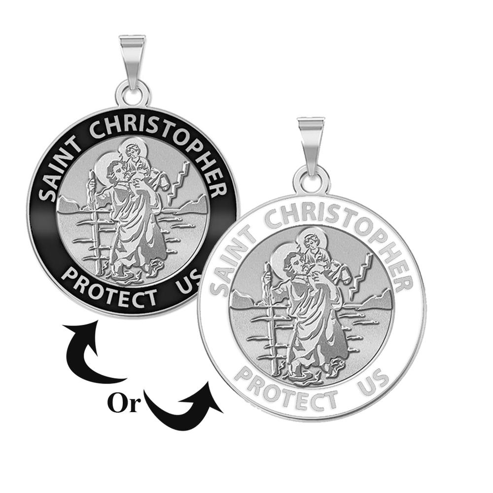78570bd6b80 Saint Christopher Round Religious Medal w/ Black Enamel or White Enamel -
