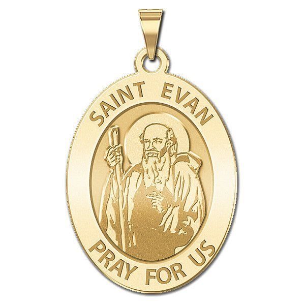 3//4 Inch X 1 Inch PicturesOnGold.com Saint Evan Religious Medal Sterling Silver