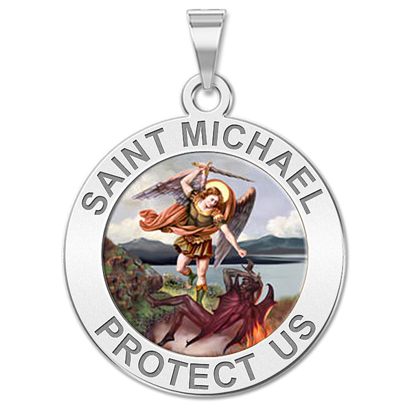 3//4 Inch X 1 Inch PicturesOnGold.com Stainless Steel Saint Michael Badge Religious Engravable Keychain Stainless Steel