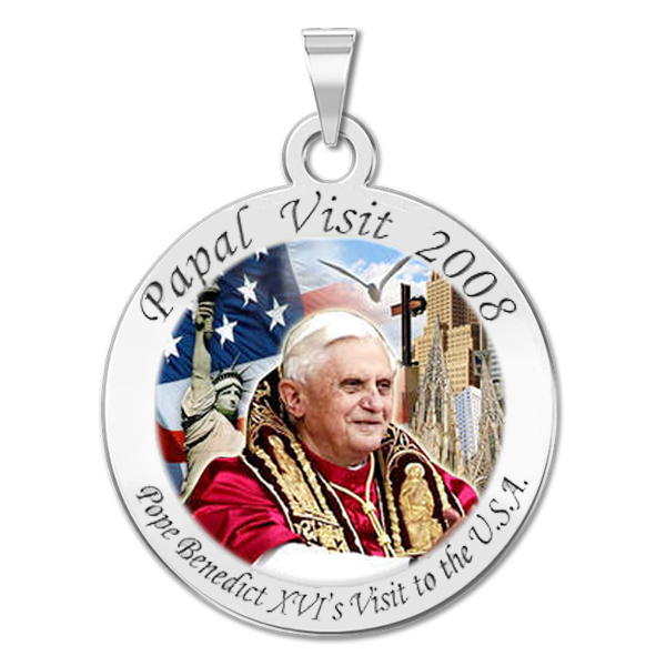 1 Inch Size of a Quarter Sterling Silver PicturesOnGold.com Pope Benedict XVI Round Religious Medal