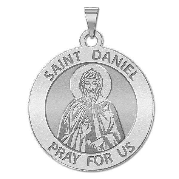 PicturesOnGold.com Saint Daniel The Stylite Religious Medal 2//3 Inch Size of Dime Solid 14K White Gold