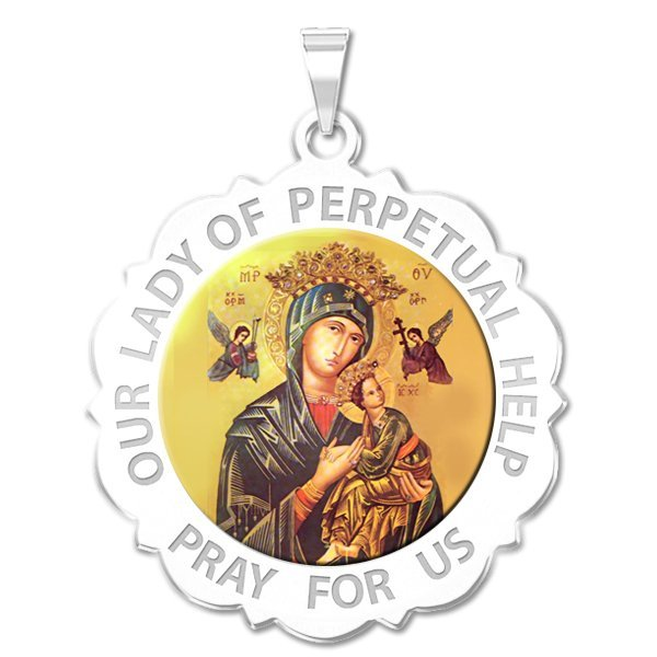 PicturesOnGold.com Saint Francis of Assisi Scalloped Round Religious Medal Color