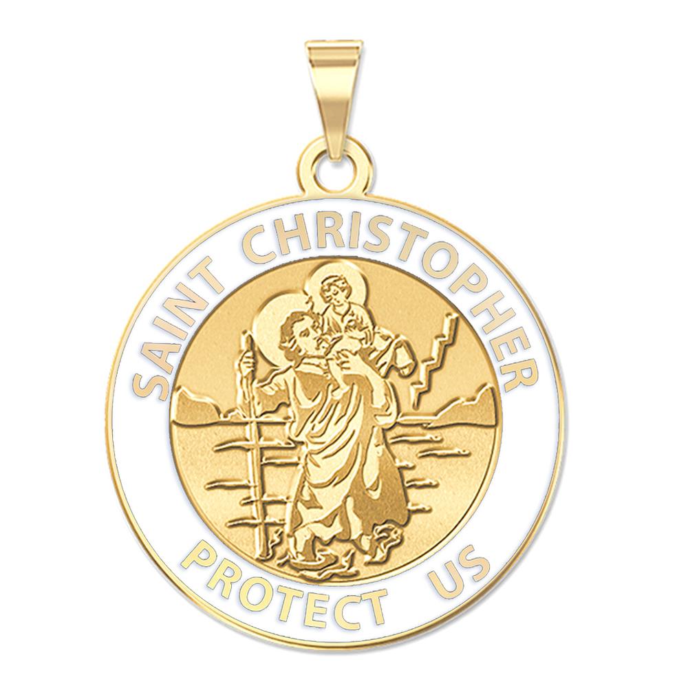 9728381c328 Saint Christopher Round Religious Medal w/ Black Enamel or White ...