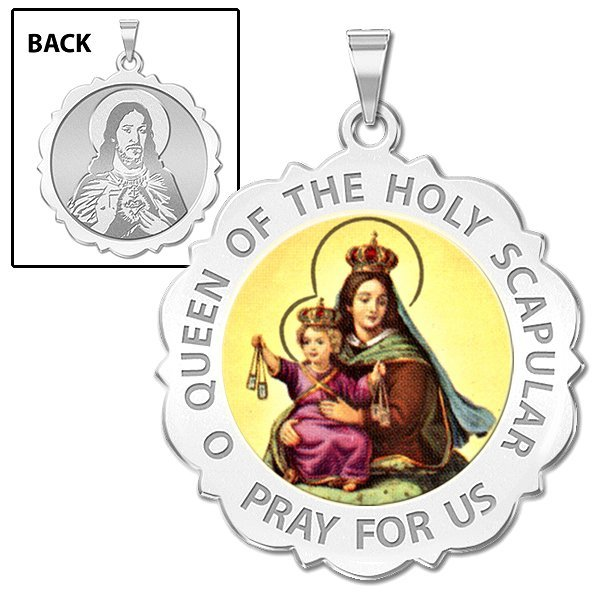 PicturesOnGold.com Blessed Mother Virgin Mary Scalloped Round Religious Medal Color