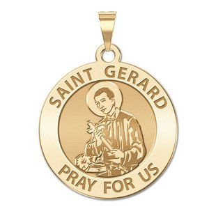 14K Yellow Gold Saint Gerard Round Medal Charm Pendant MSRP $373