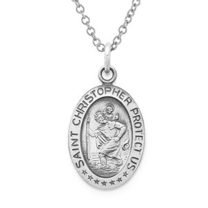Sterling Silver Antiqued Saint Christopher Oval Religious Medal