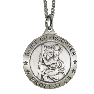 Sterling Silver Saint Christopher Medal w  24 inch chain