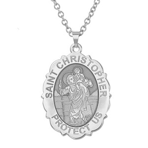 Saint Christopher Scalloped OVAL Religious Medal   EXCLUSIVE