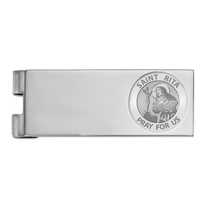 Stainless Steel Engravable Saint Rita Money Clip